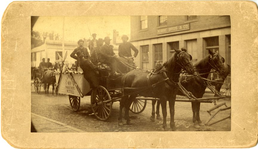 Wagon of J.C. Schmidt & Son Whip Manufactures Westfield in a parade