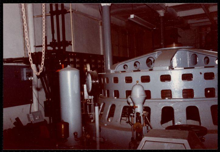 Lower Pacific Mills. Main power room. View of generator