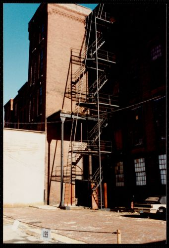 Lower Pacific Mills. Main building. View of cast iron fire escape