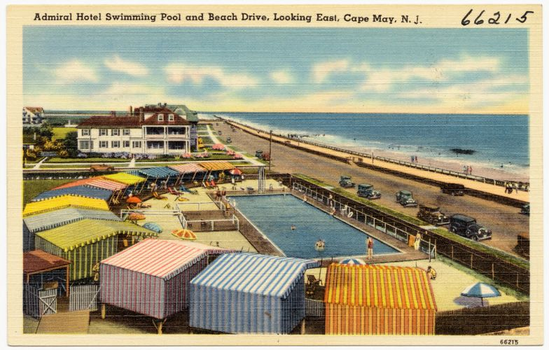 Admiral Hotel swimming pool and Beach Drive, looking east, Cape May, N. J.