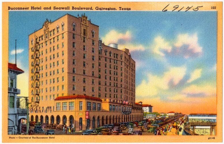 Buccaneer Hotel and Seawall Boulevard, Galveston, Texas