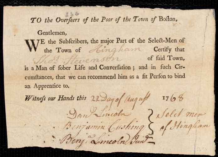 Document of indenture: Servant: Bennison, Elizabeth. Master: Stevenson. Thomas. Town of Master: Hingham. Selectmen of the town of Hingham autograph document signed to the Overseers of the Poor of the town of Boston: Endorsement Certificate for Thomas Stevenson.